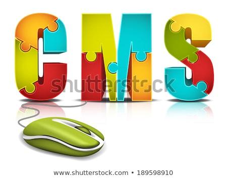 Stockfoto: Cms · woord · Blauw · inhoud · beheer · witte