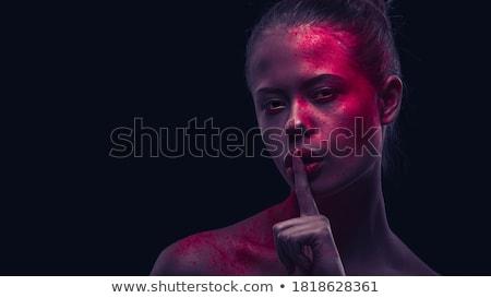 Gyönyörű fiatal nő kérdez csend izolált arc Stock fotó © hsfelix