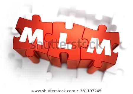 Mlm witte woord Rood 3d render puzzel Stockfoto © tashatuvango