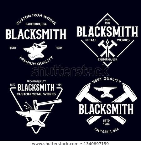 set of vintage monochrome blacksmith labels and design elements stock photo © netkov1