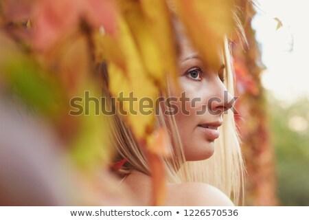 sarışın · sarı · yaprakları · yüz · mutlu · doğa - stok fotoğraf © Paha_L