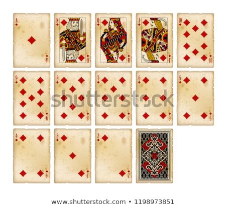 Vintage playing poker card Diamond symbol, vector illustration Stock photo © carodi