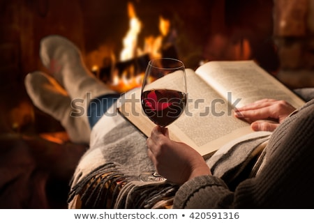 glass of burning red wine Stock photo © prill