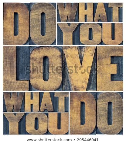 antique letterpress wood type printing blocks   love stock photo © zerbor