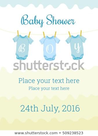 bebé · ducha · invitación · tarjeta · postal · ilustración - foto stock © gigi_linquiet