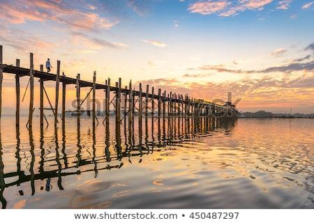 Köprü Myanmar ahşap yansımalar birmanya su Stok fotoğraf © smithore