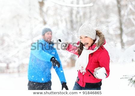 feliz · casal · jogar · ao · ar · livre · inverno · montanhas - foto stock © deandrobot