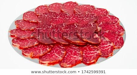 Jambon dilimleri serrano gıda kırmızı Noel Stok fotoğraf © guillermo
