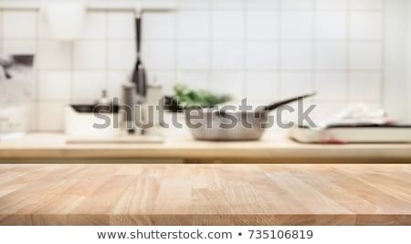 ストックフォト: Blue Wood Table Top On White Background