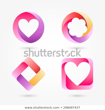 Set of volume hearts with ribbons. Stock photo © AlonPerf