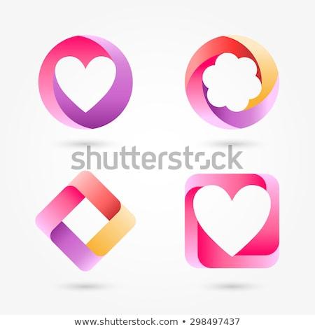 szett · hangerő · szívek · szalagok · négy · szív - stock fotó © AlonPerf