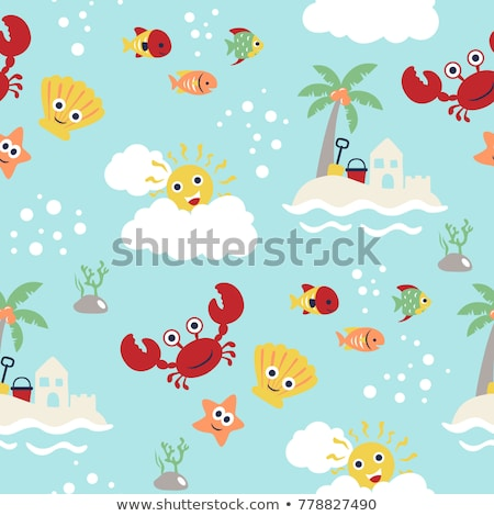 Underwater wallpaper with sand castle, vector illustration Stock photo © carodi