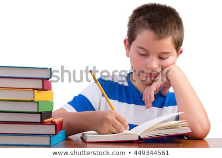 Young dedicated middle school male kid studying Stock photo © ozgur