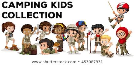 Foto stock: Crianças · camping · criança · fundo · arte · amigos