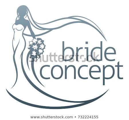 Stock fotó: Menyasszony · sziluett · fehér · menyasszonyi · ruha · esküvő