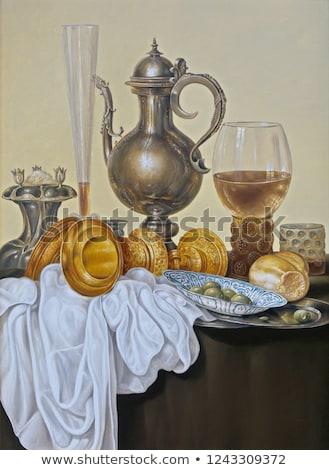 tányérok · zöld · fal · új · év · renderelt · kép · 3d · illusztráció - stock fotó © Oakozhan