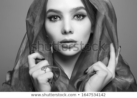 Portrait of a mysterious woman in hood Stock photo © konradbak
