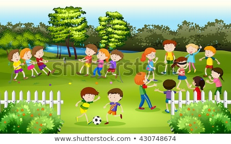 Children playing blind folded in the park Stock photo © bluering