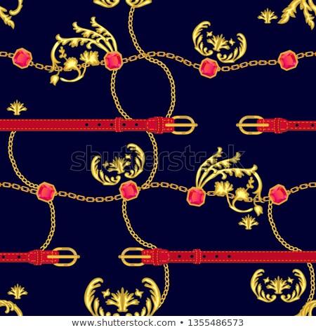 Golden baroque swirls on red, luxury seamless pattern stock photo © Evgeny89