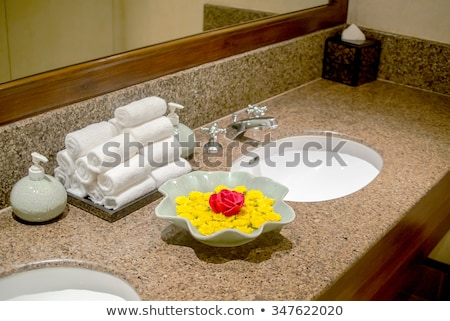 A decoration of a bath room using green plant with white flowers Stock photo © jrstock