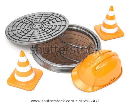 Manhole, traffic cones and safety helmet. 3D Stock photo © djmilic