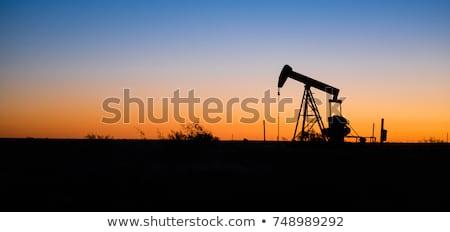 нефть закат силуэта рабочих солнце промышленности Сток-фото © ssuaphoto