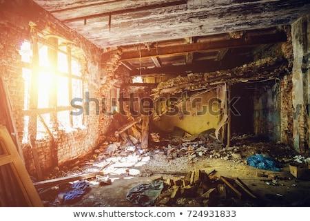 Hurricane demolition building. Broken house war. Earthquake ruin Stock photo © popaukropa
