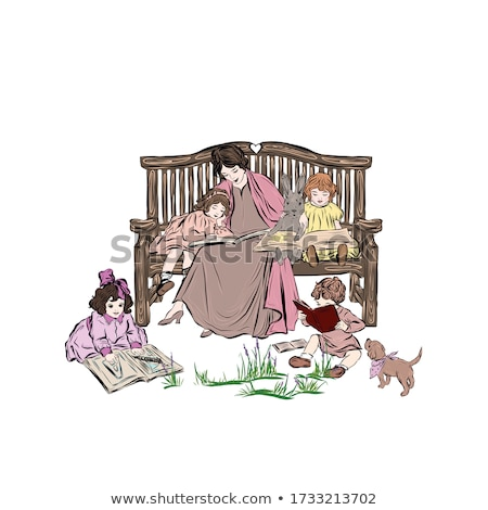 mother reading a book to children vector illustration stock photo © maia3000