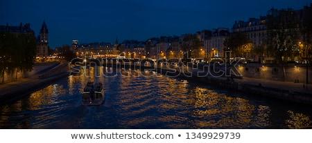 Париж · ночь · закат · реке · улице · фары - Сток-фото © givaga
