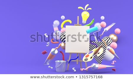 Painting set: brushes, paints, crayons, watercolor, black paper  Stock photo © vlad_star