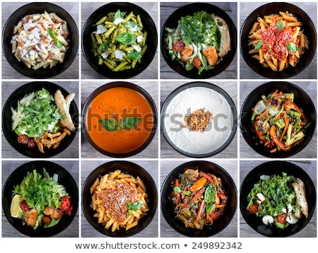 Different types of food on plates Stock photo © bluering
