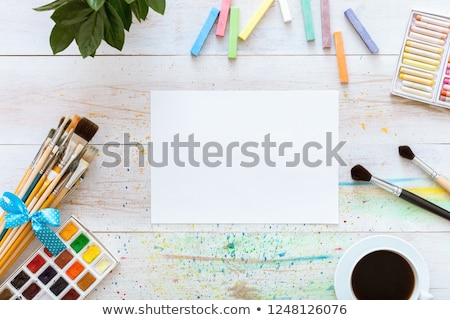 Painting set: brushes, paints, crayons, watercolor, white paper  Stock photo © vlad_star