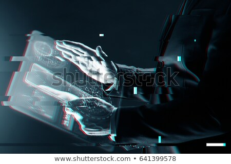 Digital tablet computer in male hands, glitch effect Stock photo © stevanovicigor