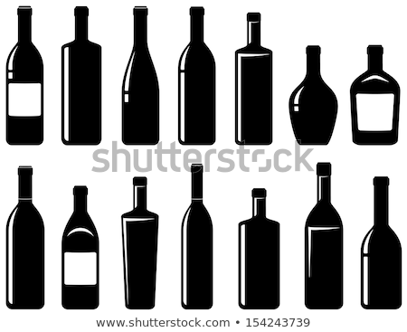 Stock photo: set of bottles of wine and champagne isolated on white