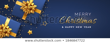 golden bow on blue background vector illustration stock photo © fresh_5265954