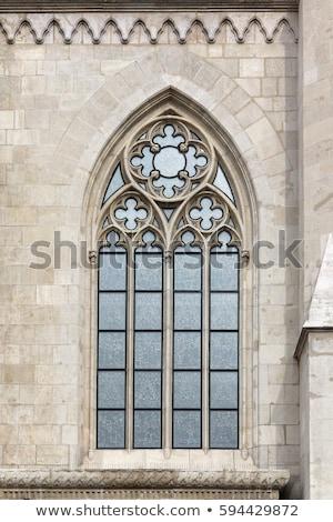 Medieval piedra castillo puerta banderas Foto stock © Filata