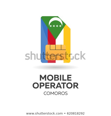 Comoros mobile operator. SIM card with flag. Vector illustration. Stock photo © Leo_Edition