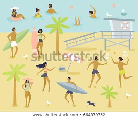 Happy man and boy playing by hut at beach Stock photo © wavebreak_media