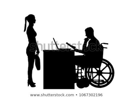 Empresario silla de ruedas jefe discapacidad medicina vector Foto stock © MaryValery
