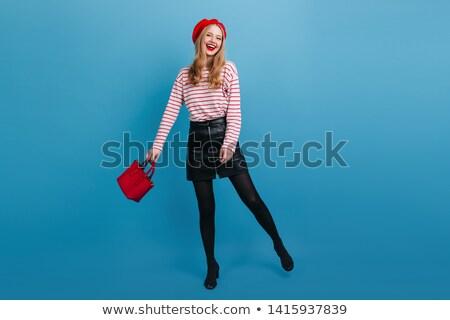 красивой возбужденный женщину сумочка студию Сток-фото © julenochek