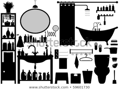 Establecer iconos toalla rack icono lineal Foto stock © Olena