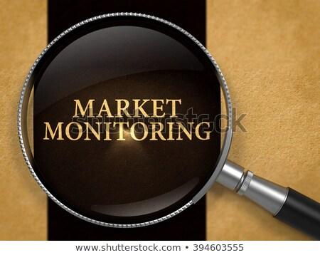 Piac ellenőrzés lencse régi papír fekete függőleges Stock fotó © tashatuvango