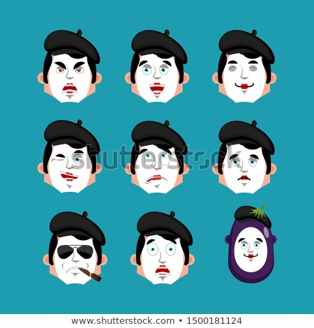 Mime face set. sleeping and evil emotion avatar. bewildered and  Stock photo © popaukropa