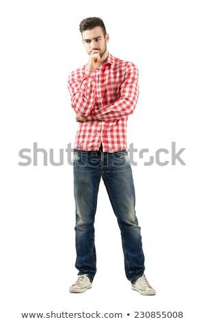 retrato · confundirse · joven · camisa - foto stock © deandrobot