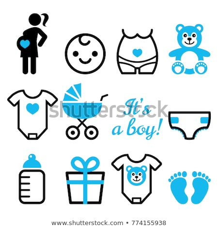 baby boy shower vector icons set pregnant womant with boy newborn baby design stock photo © redkoala