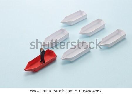 üzletember · áll · evezős · csónak · természet · utazás · csónak - stock fotó © IS2
