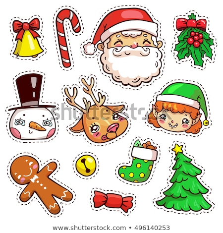 Рождества · Новый · год · Cute · Cartoon · Label · набор - Сток-фото © frescomovie
