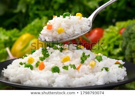 arroz · prato · colher · isolado · saudável · alimentação · saudável - foto stock © maryvalery