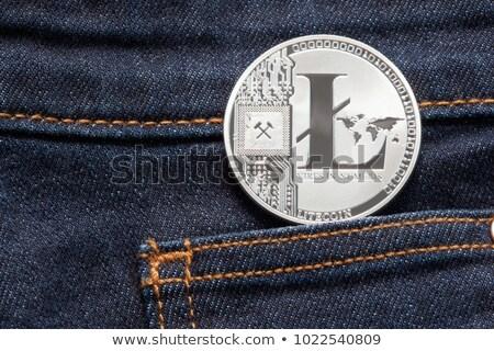 Monety denim kieszeni srebrny ciemne niebieski Zdjęcia stock © ivelin
