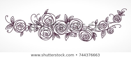 Stylized rose flowers bouquet. Branch of flowers and leaves interlacing Stock photo © ESSL